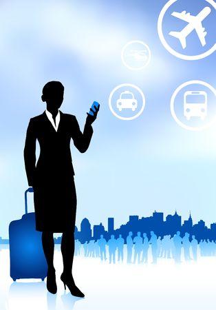 Original Vector Illustration: businesswoman traveler with luggage on skyline background AI8 compatible illustration