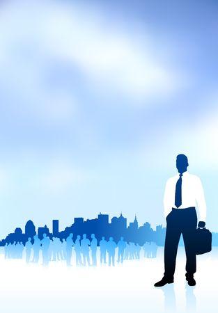 Original Illustration: businessman traveler internet background with city skyline and group AI8 compatible Imagens