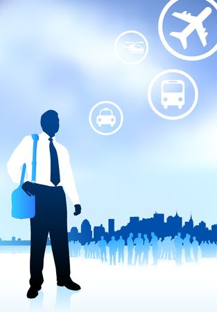 Original Illustration: businessman traveler with new york skyline internet background AI8 compatible illustration