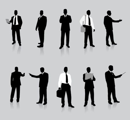 brightly lit: Businessman Silhouette Collection Original Illustration People Silhouette Sets Stock Photo