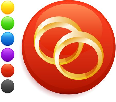 wedding rings icon on round internet button original illustration 6 color versions included  Stock Illustration - 6572706