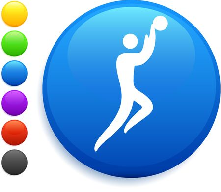 nba: basketball icon on round internet button original vector illustration 6 color versions included