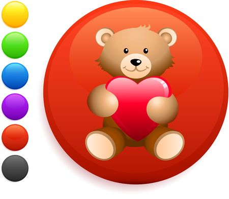 teddy break icon on round internet button original illustration 6 color versions included  illustration