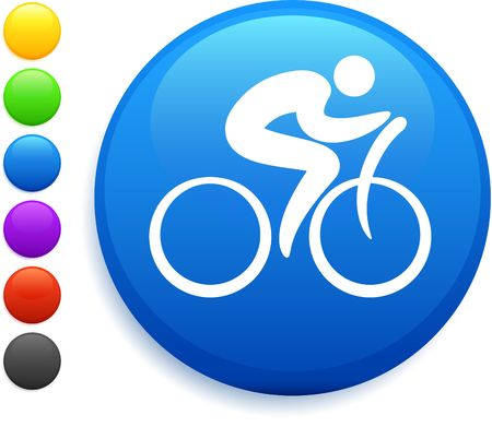 cyclist icon on round internet button original illustration 6 color versions included