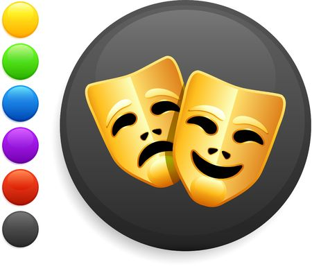 tragedy and comedy masks icon on round internet buttonoriginal vector illustration6 color versions included