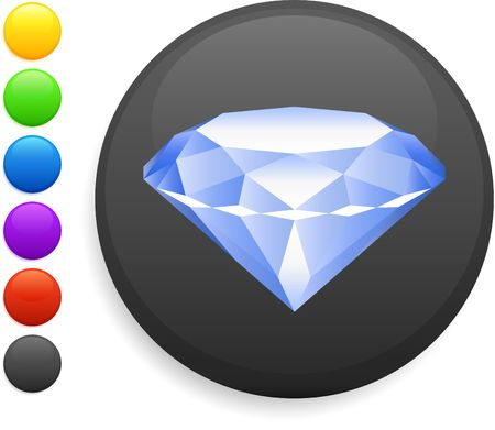 diamond icon on round internet button original illustration 6 color versions included  illustration