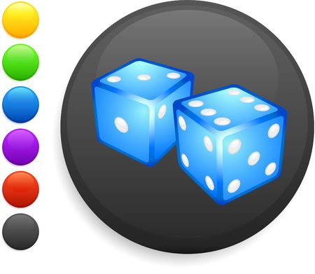 six objects: dice icon on round internet button original illustration 6 color versions included