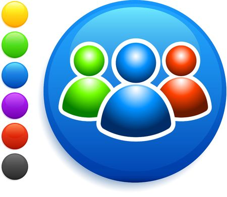 user group icon on round internet button original vector illustration 6 color versions included  Banco de Imagens