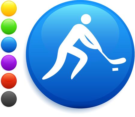 hockey icon on round internet button original vector illustration 6 color versions included  illustration