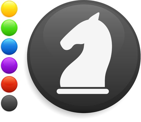 knight chess piece icon on round internet button original illustration 6 color versions included