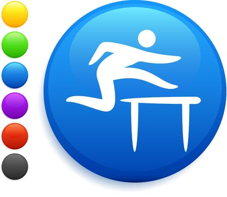hurdles icon on round internet button original vector illustration 6 color versions included