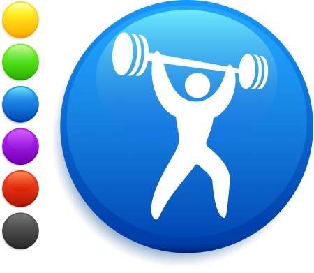 weightlifter icon on round internet button original vector illustration 6 color versions included