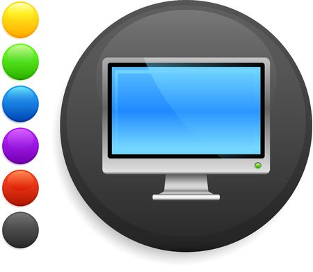 computer screen icon on round internet button original illustration 6 color versions included Stock Illustration - 6572654