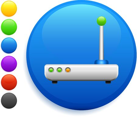 transmitter icon on round internet button original illustration 6 color versions included  Stock Illustration - 6572650