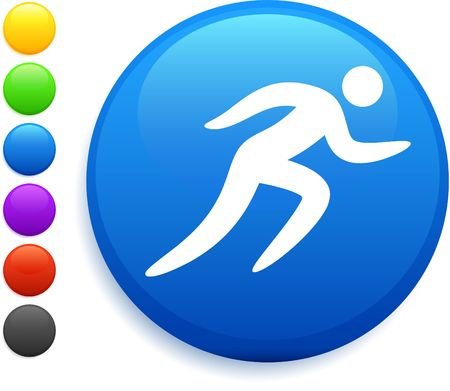 running icon on round internet button original vector illustration 6 color versions included  illustration