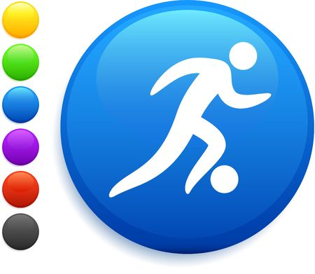 soccer (football) icon on round internet button original vector illustration 6 color versions included  illustration