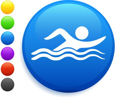 swimming icon on round internet button original illustration 6 color versions included Banco de Imagens - 6572613