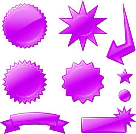 purple star burst designs Original Illustration  Design elements collection on white background