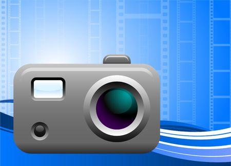 Originele vectorillustratie: fotocamera op filmachtergrond AI8 compatibel