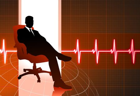 Original Illustration: businessman sitting red internet background AI8 compatible 版權商用圖片