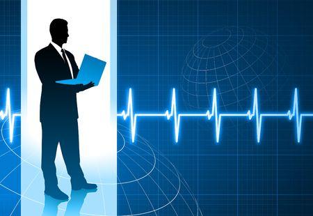 Original Illustration: businessman holding computer internet background with pulse heart rate AI8 compatible illustration