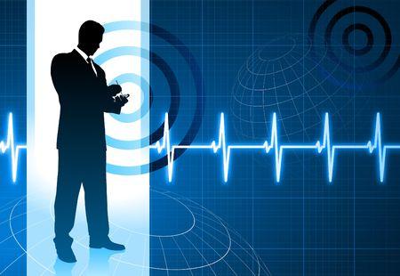 palm pilot: Original Illustration: business people on pulse background AI8 compatible Stock Photo