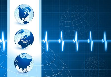 taking pulse: Original Illustration: Globes on blue internet background with pulse rate AI8 compatible