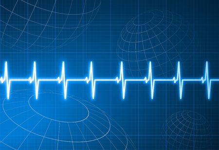 taking pulse: Original Illustration: Pulse heart rate with wire frame globes internet background AI8 compatible Stock Photo
