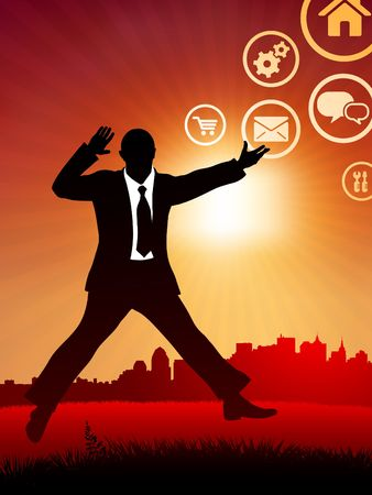Original Illustration: excited businessman on internet sunset background and skyline AI8 compatible illustration