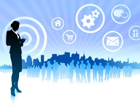 Original Illustration:business woman on internet skyline background with icons AI8 compatible illustration