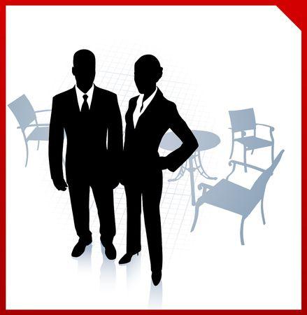 Original Illustration: businessman and businesswoman during break on red border background AI8 compatible illustration
