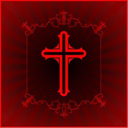 compatible: Original Illustration: Christian cross glowing background AI8 compatible Stock Photo