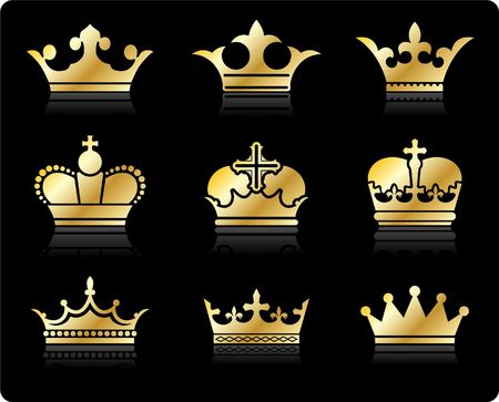 Original illustration: crown design collection Stock Photo