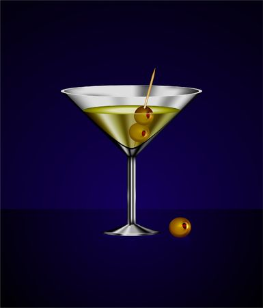Original Illustration: martini glass cocktail with olives AI8 compatible