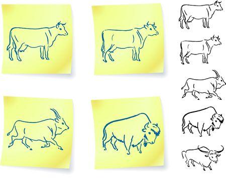 Buffalo de la vache et le bison sur post it notesillustration originale de vecteurversions de couleur 6 incluses Banque d'images - 6572713