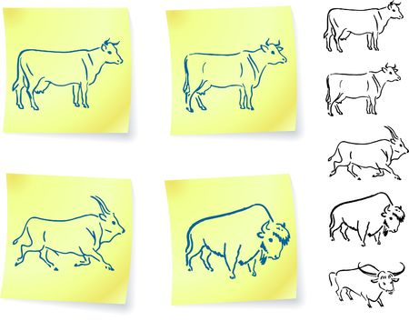 cow buffalo and bison on post it notes original vector illustration 6 color versions included