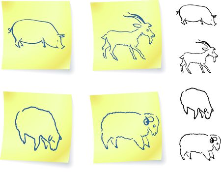 pig, goat, ram and sheep  on post it notes original vector illustration 6 color versions included illustration