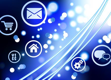 fiber optic: Original Illustration: Fiber Optic cable internet background with online icons and buttons AI8 compatible