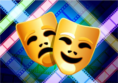 comedy: Original Illustration: comedy and tragedy masks on multi color film reel background AI8 compatible Stock Photo