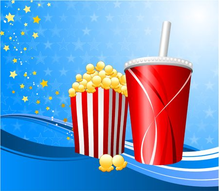 movie film: Original Illustration: Popcorn and cup of soda on film background File is AI8 compatible