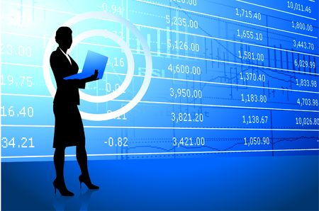 Original Illustration: businesswoman holding laptop on stock market background  AI8 compatible Imagens