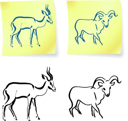 wild ram and gazelle on post it notes original illustration 6 color versions included