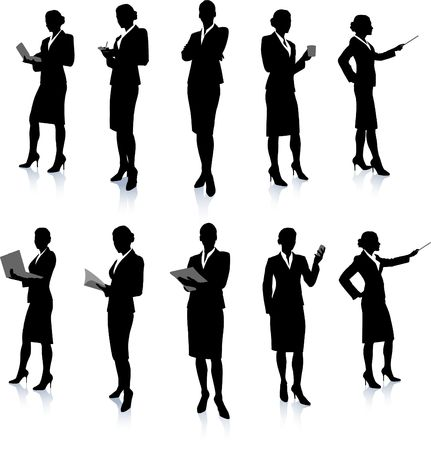 Businesswoman Silhouette Collection Original Vector Illustration People Silhouette Sets illustration