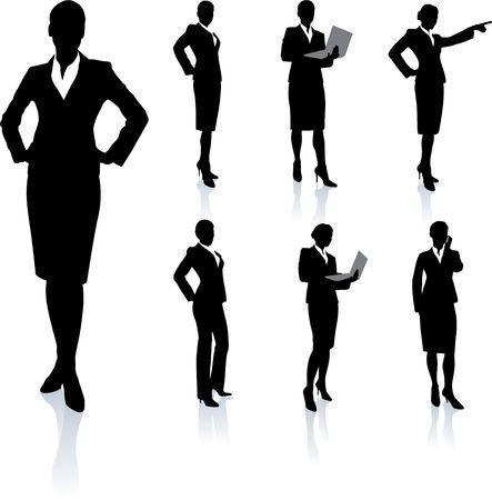 Zaken vrouw Silhouette Collection Originele vector illustratie Mensen Silhouette Sets
