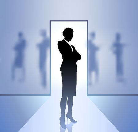 businesses: Original Illustration: Businesswoman executive in focus on blurry background AI8 compatible
