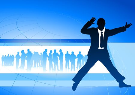 Original Illustration: excited businessman on blue internet background AI8 compatible illustration