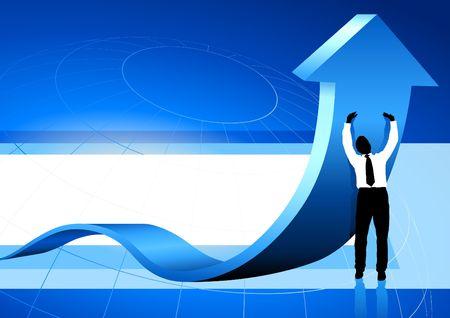 Original Illustration: Business Man holding up arrow blue background AI8 compatible Stock fotó - 6572427