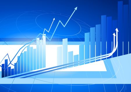 Original Vector Illustration: Blue Bar Graphs with arrows increasing internet background AI8 compatible