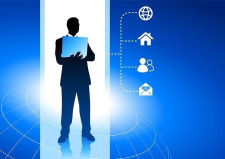 Original Vector Illustration: Businessman working with internet symbols blue background AI8 compatible