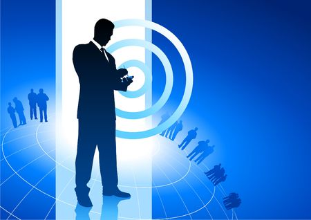 palmtop: Original Vector Illustration: businessman on phone business internet background AI8 compatible